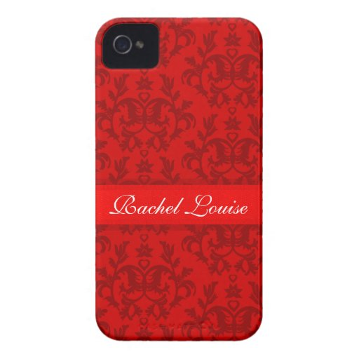 """Your name"" damask red iphone4S barely case"