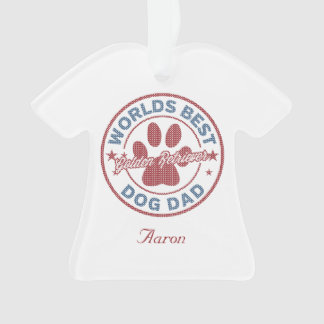 Your Name Dog Dad Golden Retriever Ugly Sweater Ornament