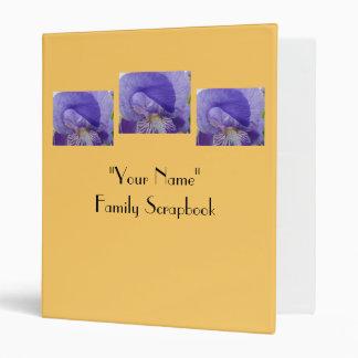Your Name Family Scrapbook binder Iris Flowers