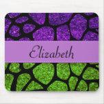 Your Name - Giraffe Print, Glitter - Green Purple Mousepads
