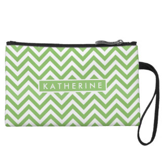 Your Name | Green Lime Chevron Wristlet