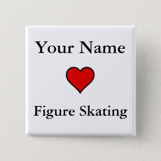 (Your Name) Hearts Figure Skating 2 Inch Square Button