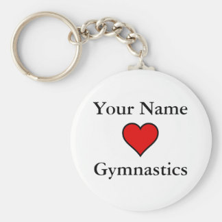 (Your Name) Hearts Gymnastics Basic Round Button Keychain