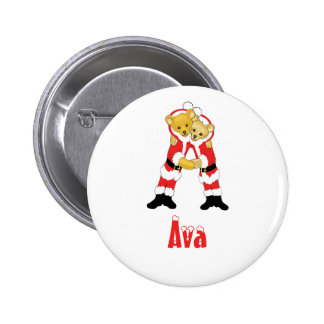 Your Name Here! Custom Letter A Teddy Bear Santas 2 Inch Round Button