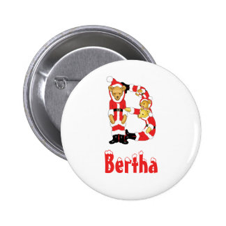 Your Name Here! Custom Letter B Teddy Bear Santas 2 Inch Round Button