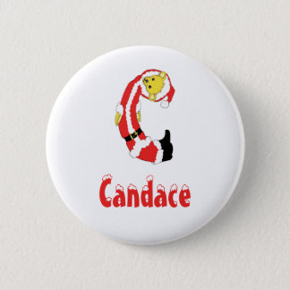 Your Name Here! Custom Letter C Teddy Bear Santas 2 Inch Round Button