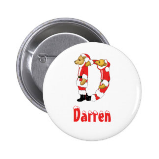 Your Name Here! Custom Letter D Teddy Bear Santas 2 Inch Round Button