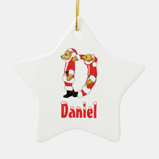 Your Name Here! Custom Letter D Teddy Bear Santas Ceramic Star Ornament
