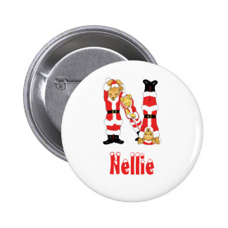 Your Name Here! Custom Letter N Teddy Bear Santas 2 Inch Round Button
