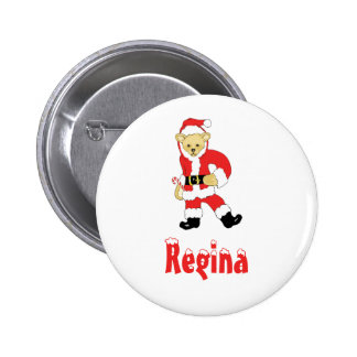 Your Name Here! Custom Letter R Teddy Bear Santas 2 Inch Round Button