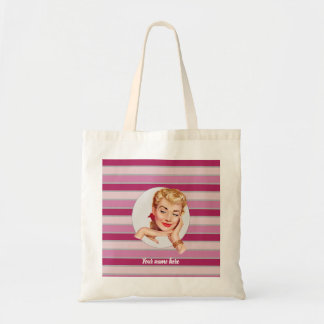 Your name here (pink stripes) tote bag