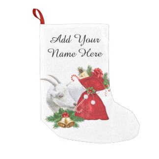 YOUR NAME HERE  Saanen Goat With Holiday Spirit Small Christmas Stocking