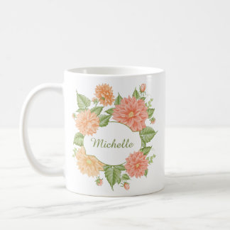 Your Name in a Flower Frame Coffee Mug