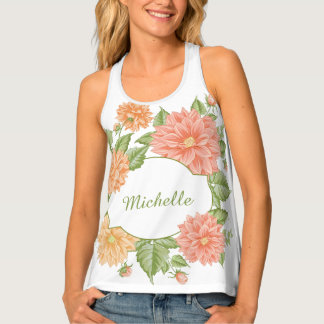 Your Name in a Flower Frame custom tank top