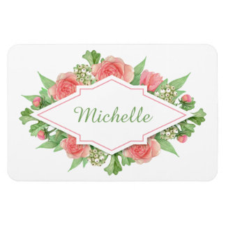 Your Name in a Flower Frame magnet