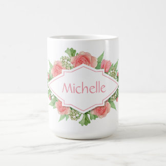 Your Name in a Flower Frame mugs