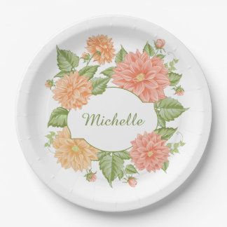 Your Name in a Flower Frame paper plates