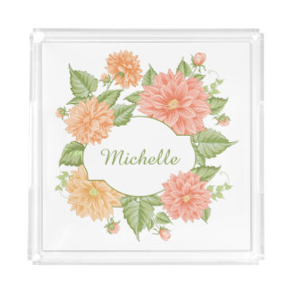 Your Name in a Flower Frame serving trays