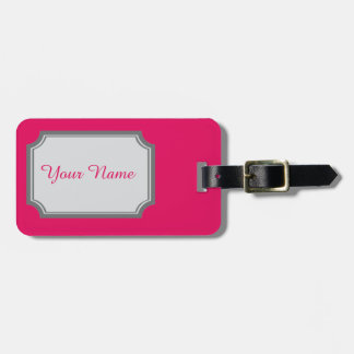 your name in raspberry colour luggage tag