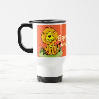 """Your name""  kids lion orange travel / club mug"