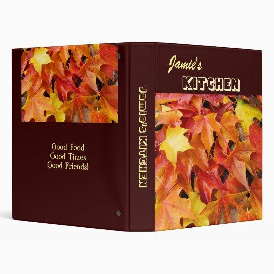 Your Name KITCHEN custom recipe binder Leaves