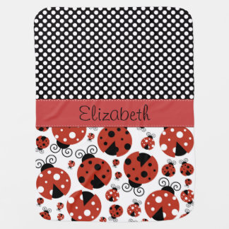 Your Name - Ladybugs, Ladybirds - Red Black Receiving Blanket