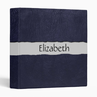 Your Name - Leather Texture, Dyed Leather - Blue Vinyl Binders