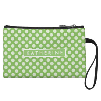Your Name | Lime Green Polka Dots Wristlet