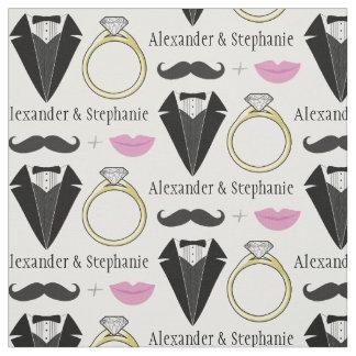 Your Name Lips Mustache Ring Tuxedo Wedding Fabric