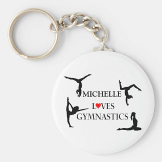"""YOUR NAME"" Loves Gymnastics Basic Round Button Keychain"