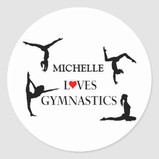 """YOUR NAME"" Loves Gymnastics Classic Round Sticker"