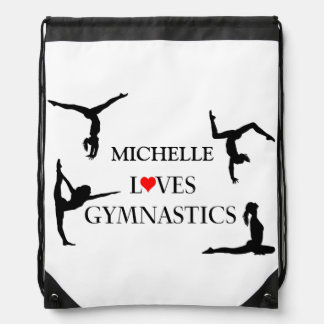 """YOUR NAME"" Loves Gymnastics Drawstring Bag"