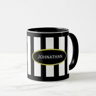 Your Name Mug in Stripe Black White Gold
