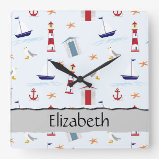 Your Name - Nautical Pattern (Marine Pattern) Square Wall Clock