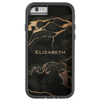 Your Name on a Black Marble Tough Xtreme iPhone 6 Case
