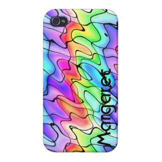 Your Name on a Rainbow of Squiggles Case For The iPhone 4