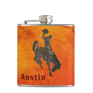 Your Name on Bronc Rider Flask
