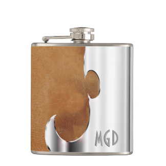 Your Name on Handsome Leather and Chrome Flask
