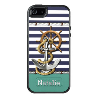 Your Name On Stripes Pattern Retro Boat Anchor OtterBox iPhone 5/5s/SE Case