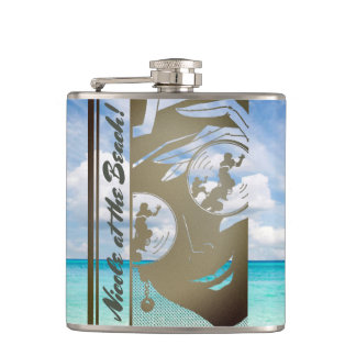 Your Name on this Beach Girl Flask