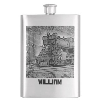 Your Name on this Retro Locomotive Flask