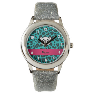 Your name panda bear head turquoise leopard wrist watch