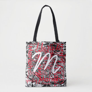 your name pattern with initial, cool graphic-art tote bag