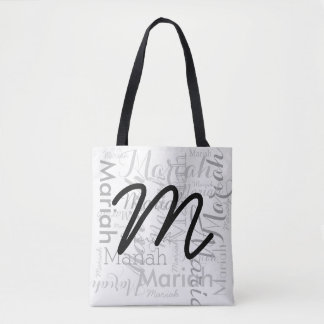 your name pattern with initial, stylish tote bag