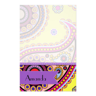 Your Name - Persian Paisley, Dots - Yellow Blue Personalized Stationery