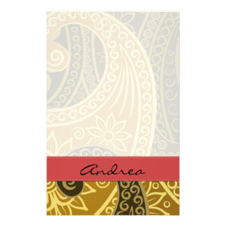 Your Name - Persian Paisley, Flowers - Green Personalized Stationery
