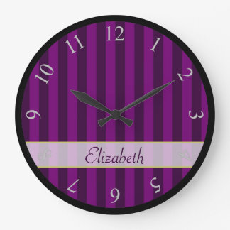 Your Name Personalized on a Purple Striped Pattern Wallclocks
