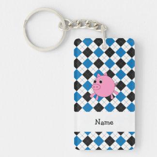 Your name pig black blue argyle Single-Sided rectangular acrylic keychain
