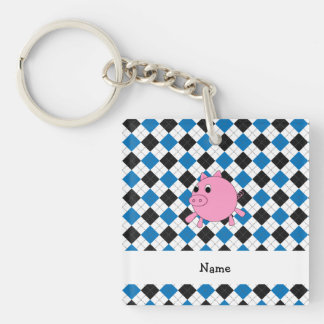Your name pig black blue argyle keychains