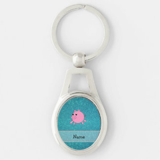 Your name pig turquoise glitter key chains